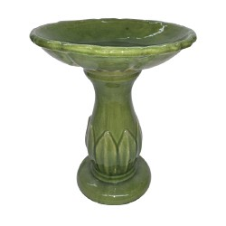 Birdbath Sm Leaf Crackle Green